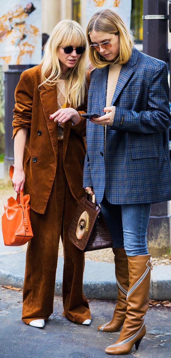 brown colour trend: brown corduroy suit