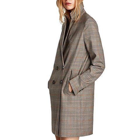 Checked Double-Breasted Houndstooth Long Blazer Coat