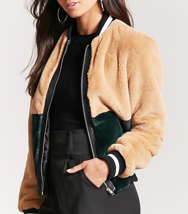 Colorblock Faux Fur Bomber Jacket