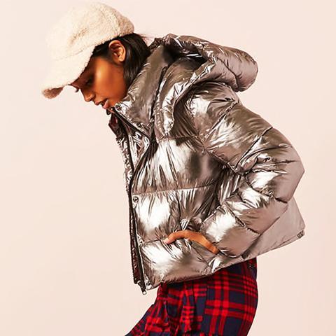 Metallic Hooded Puffer Jacket