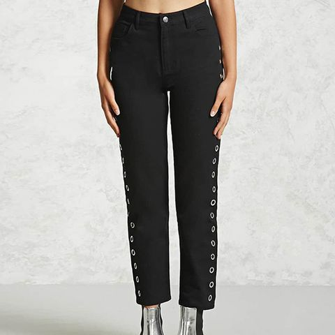 High-Waist Grommet Jeans