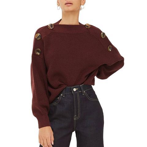 Button Slash Knit Sweater