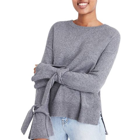 Tie Cuff Pullover Sweater