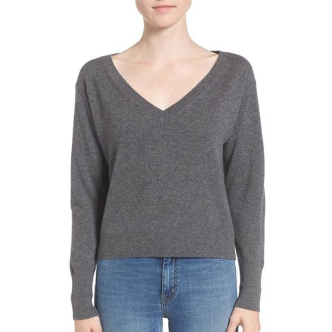 The Cashmere Crop V-Neck Sweater