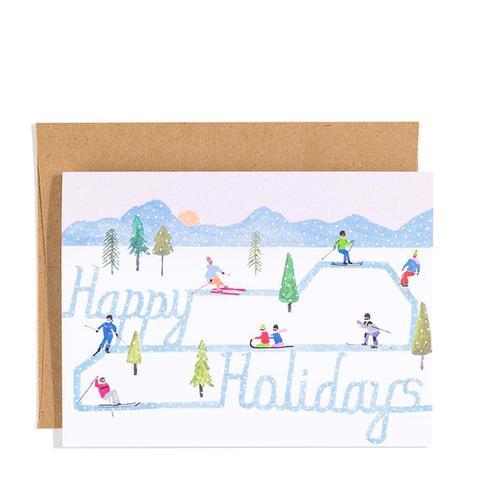 Skiing Holiday Card