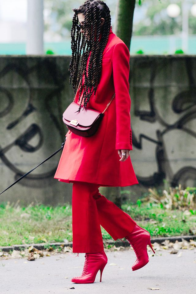 Try this combo for your next holiday dinner party: wool coat + cropped trousers + heeled boots.