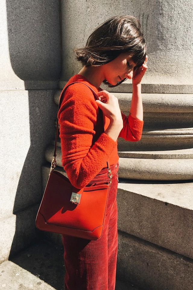 Play with textures and shades of red. We love the combination of knits and corduroy for fall.