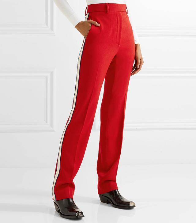 Striped Wool-twill Straight-leg Pants