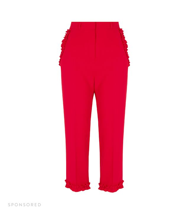 River Island Red Frill Hem Cropped Pants