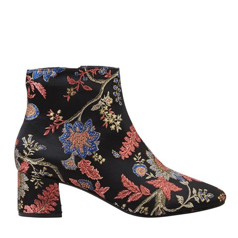 Brocade Floral Ankle Boots