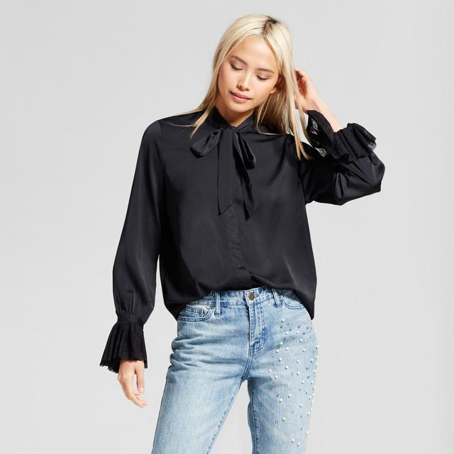 Long Sleeve Frilled Cuff Blouse