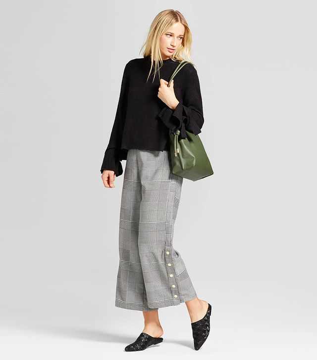 Relaxed Side Snap Cropped Trouser