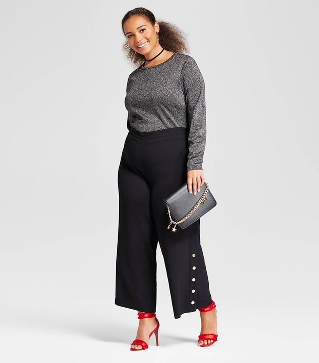 Plus Size Side Snap Cropped Trouser