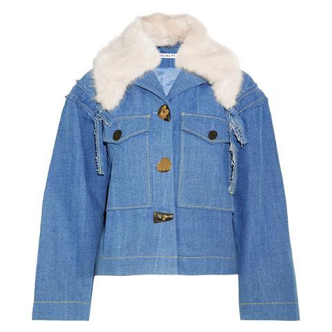Daphne Faux Fur-Trimmed Denim Jacket