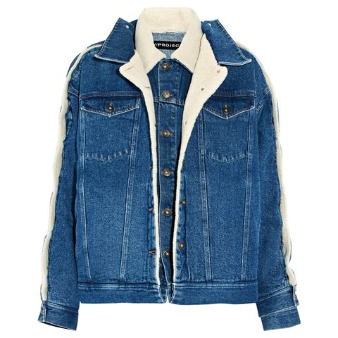 Faux Shearling-Lined Layered Denim Jacket