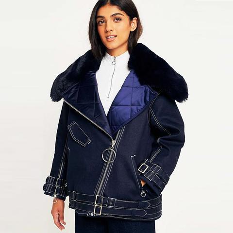 Faux Fur Collar Biker Jacket