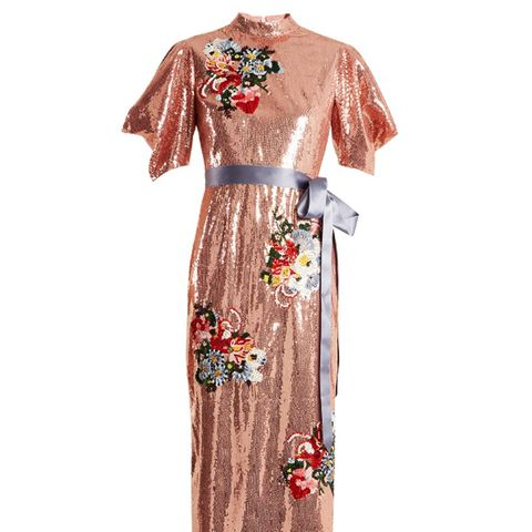 Emery Floral-Embroidered Sequin Dress