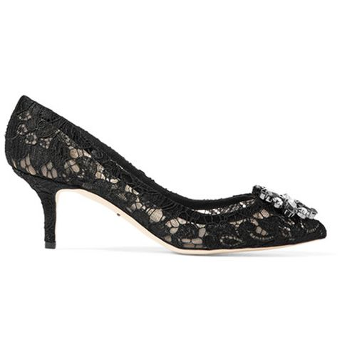 Crystal-Embellished Corded Lace and Mesh Pumps