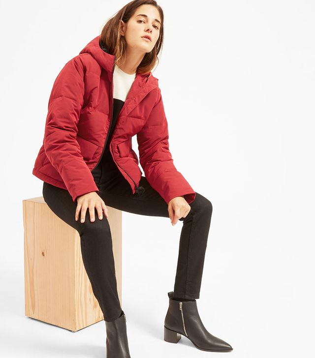 Everlane The Short Puffer Jacket in Ruby