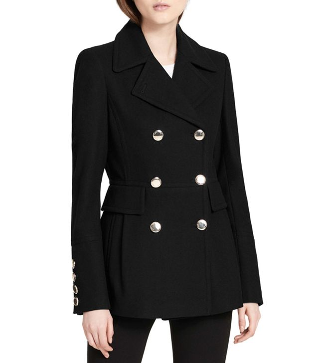 Calvin Klein Double Breasted Wool Blend Peacoat