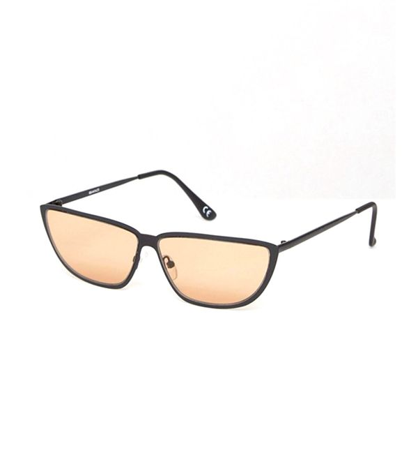 80s Small Metal Cat with Light Brown Lens