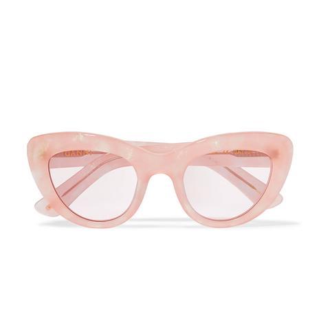 May Cat-Eye Glittered Acetate Sunglasses