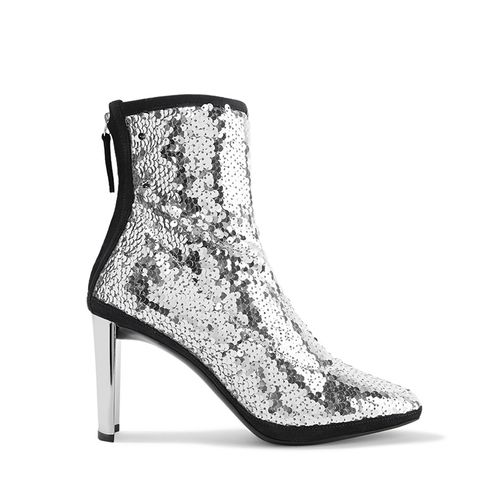 Luce Suede-Trimmed Sequined Tulle Ankle Boots