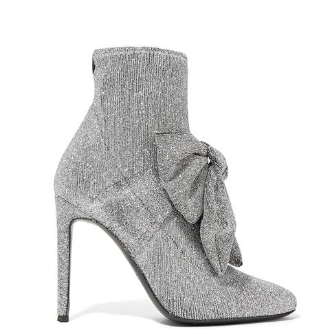Natalie Embellished Glittered Stretch-Knit Sock Boots