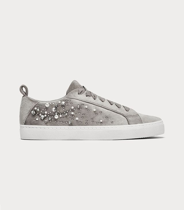 Zara Velvet Plimsolls With Faux Pearls