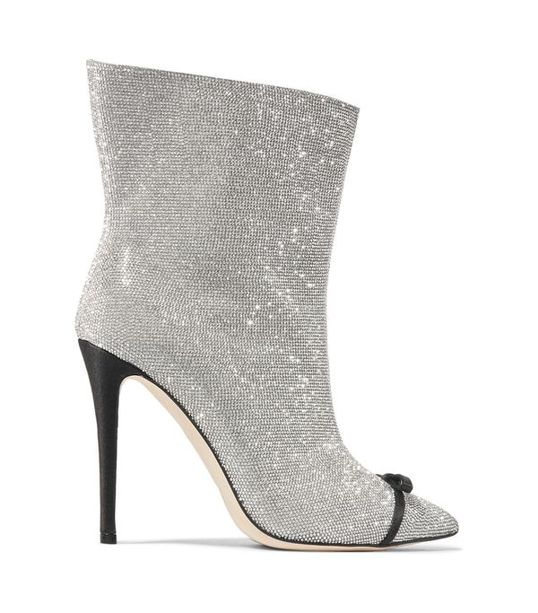 Bow-embellished Perspex-trimmed Swarovski Crystal And Leather Ankle Boots