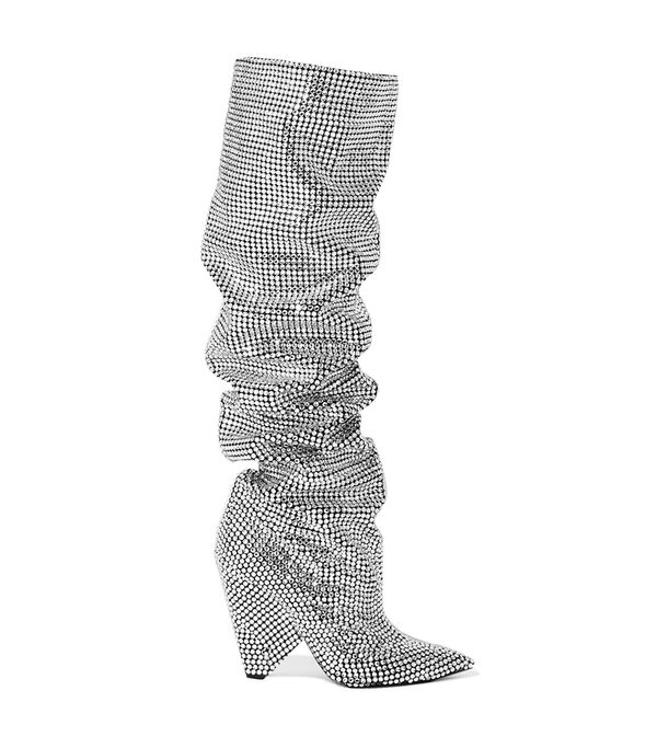 Niki Swarovski Crystal-embellished Leather Knee Boots