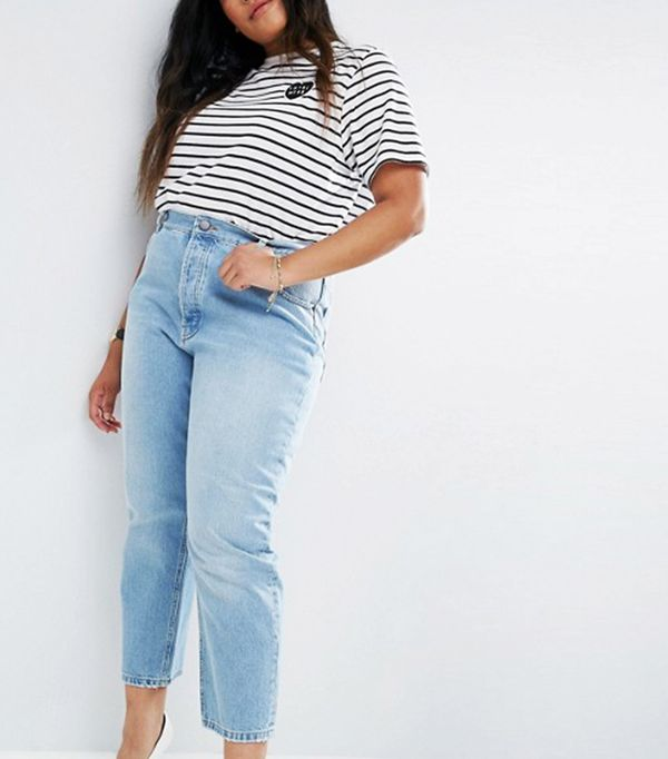 ASOS CURVE FLORENCE Authentic Straight Leg Jeans in Cambridge Light Mid Wash