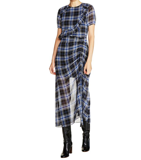 Women's Maje Check Plaid Midi Dress