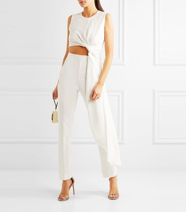 Thurloe Draped Cutout Jersey And Crepe Jumpsuit