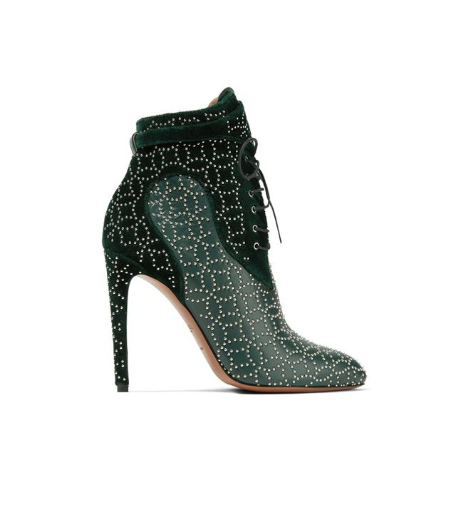 Alaïa Studded Lace-Up Leather and Suede Ankle Boots