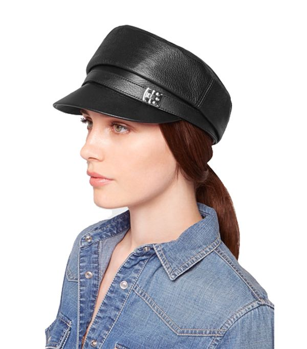 Embellished Leather Cap