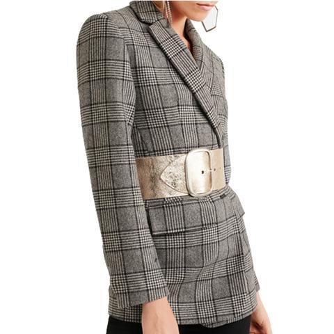 Tikky Metallic Textured-Leather Waist Belt