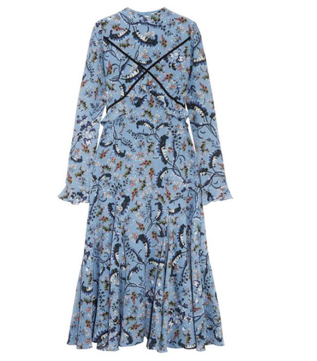 Erdem Cordelia Floral-Print Silk Crepe de Chine Midi Dress