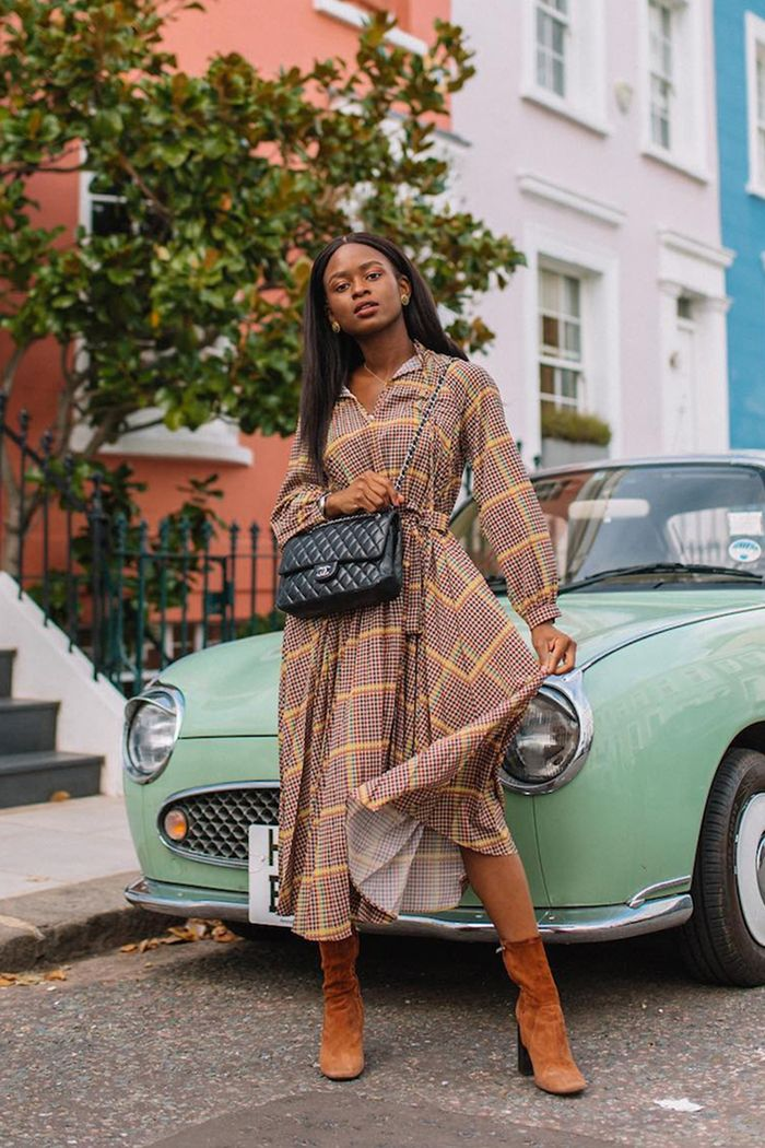 best & other stories clothing: Enis Wardrobe wearing check dress