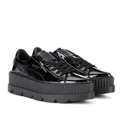 Pointed Creeper Patent Leather Sneakers