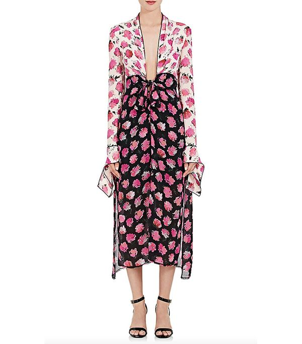 Women's Floral Silk Georgette Fitted Dress