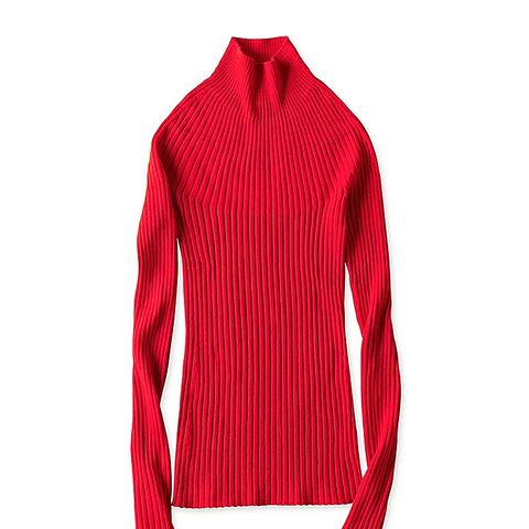 Women U 3d Merino Ribbed Mock Neck Sweater