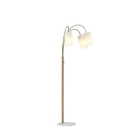 3-Light Marble and Brass Arc Floor Lamp