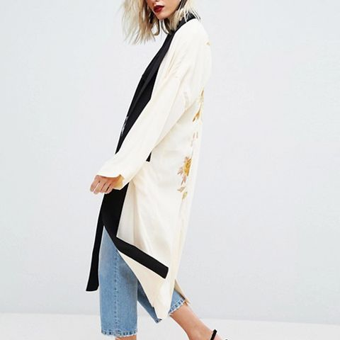 Premium Kimono Duster Jacket with Bird Embroidery and Contrast Collar