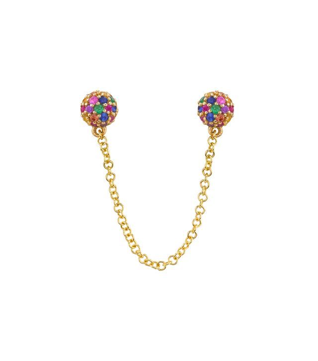 The Last Line Connected Rainbow Pave Stud Earring