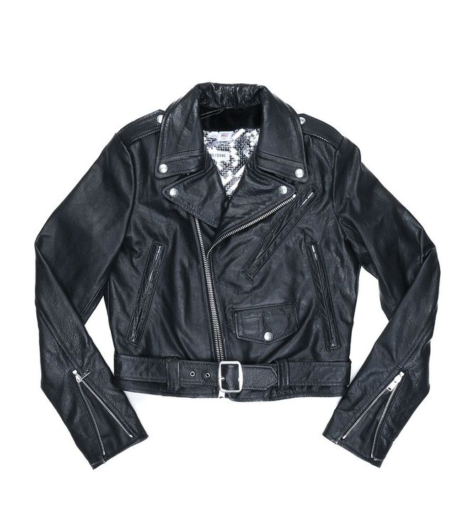 Re/Done Reconstructed Leather Moto With Silver