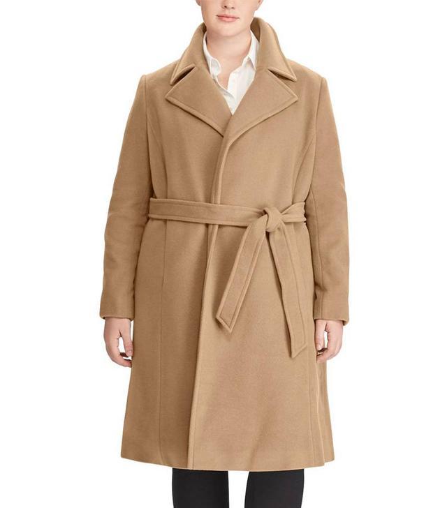 Plus Size Women's Wool Blend Wrap Coat