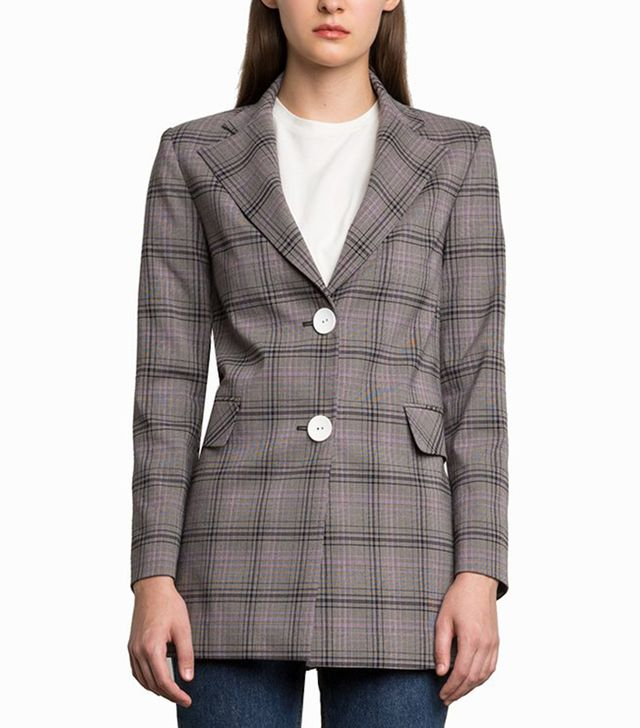 Pixie Market Chelsea Grey Plaid Button Blazer