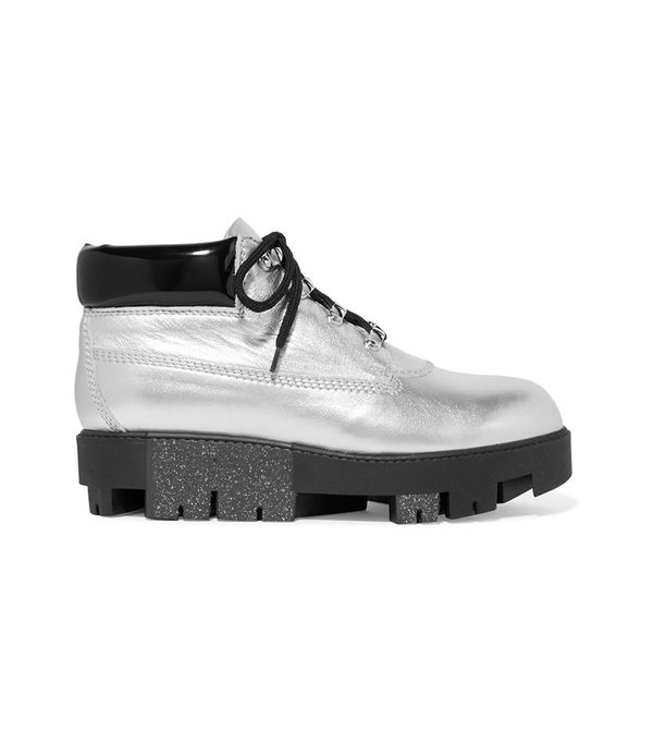 Tinnie Alu Metallic Textured-leather Ankle Boots