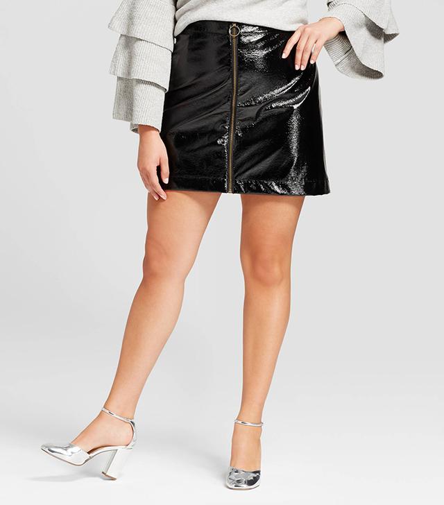 Plus Size Zip Front Moto Skirt